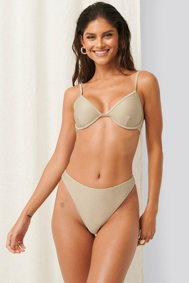 Ribbed High Leg Bikini Panty Sand