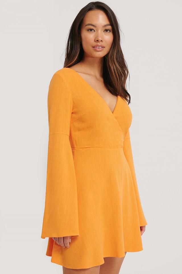 Linen Mix Open Back Dress Burnt Orange