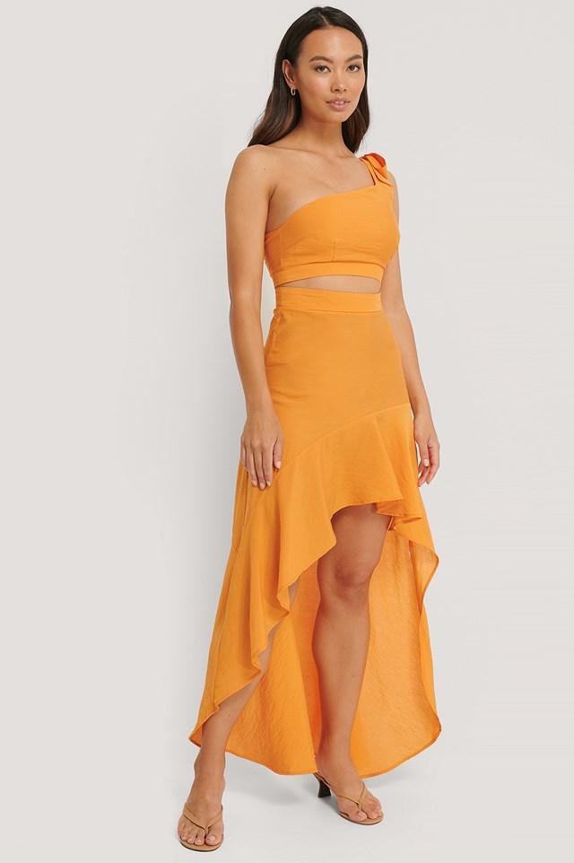 One Shoulder Flowy Maxi Dress Burnt Orange