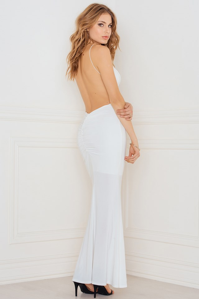 Slinky Fishtail Dress with Deep V Ruched Back White