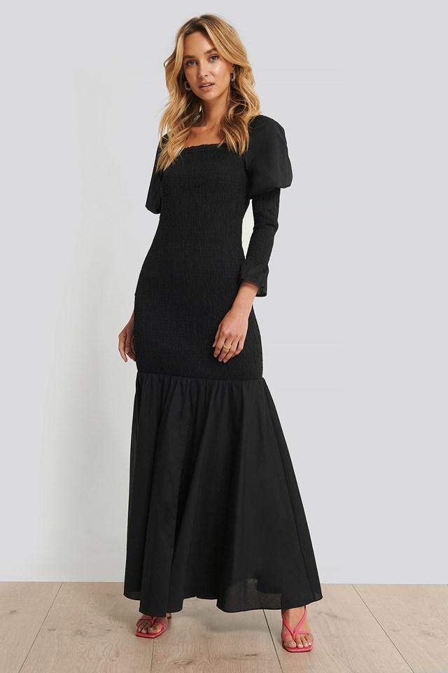 Long Sleeve Gathered Maxi Dress Black