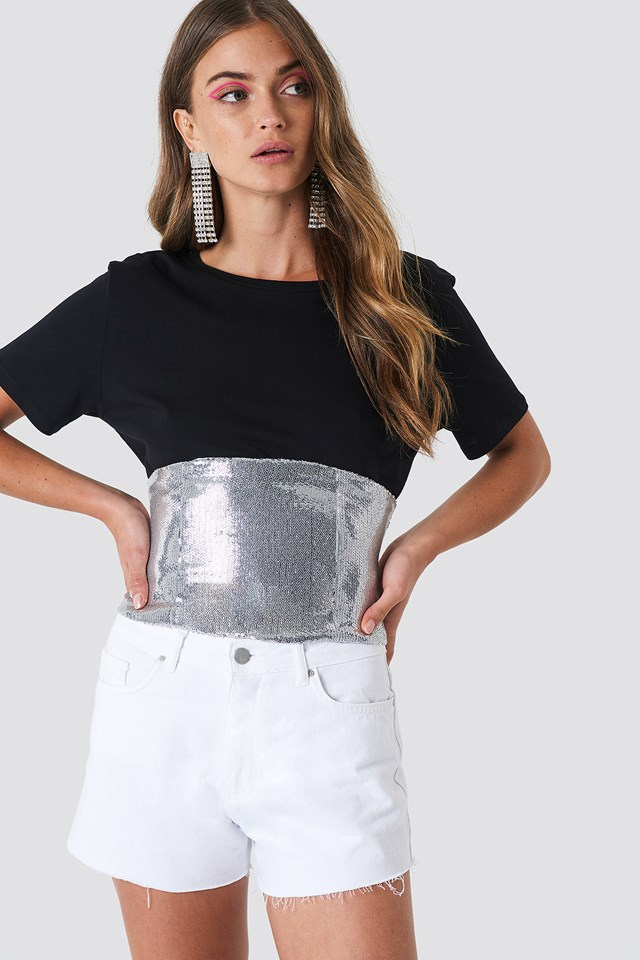 Silver Sequin Corset Silver