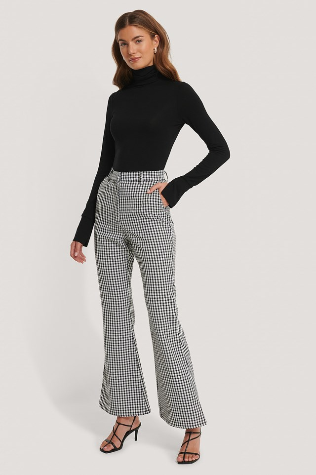 Flared Houndsthooth Trousers White/Black