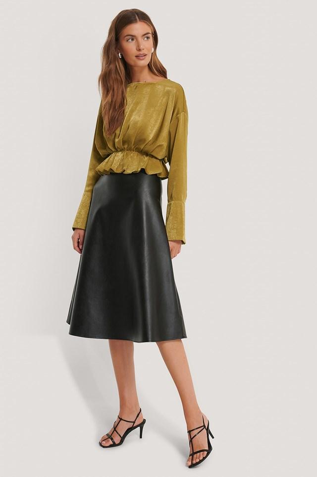 Pu Midi Skirt Black