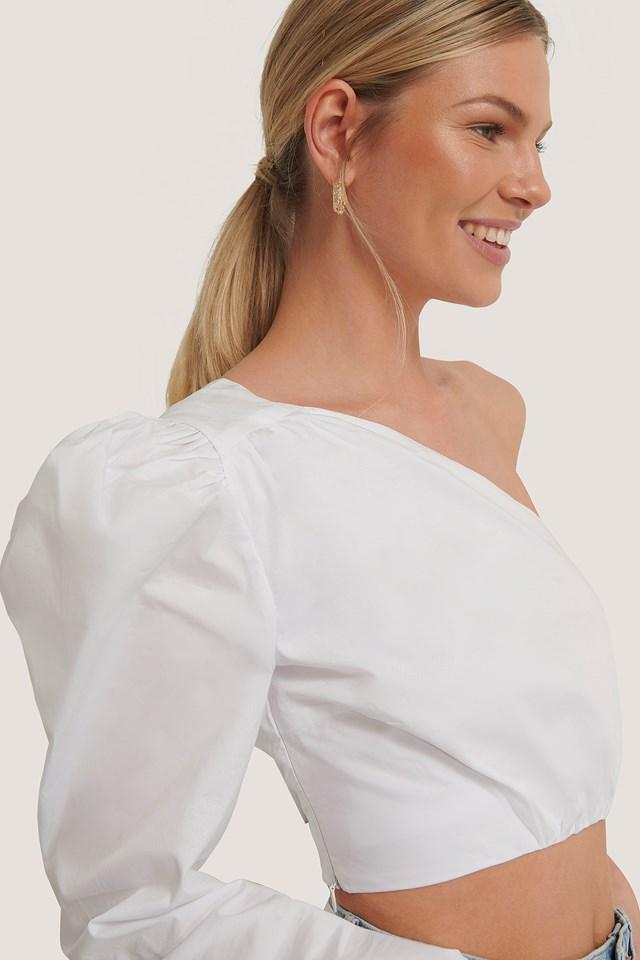 Asymmetric Crop Blouse White