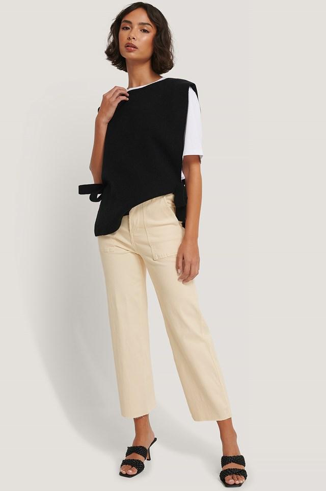 Cropped High Waist Jeans Ecru