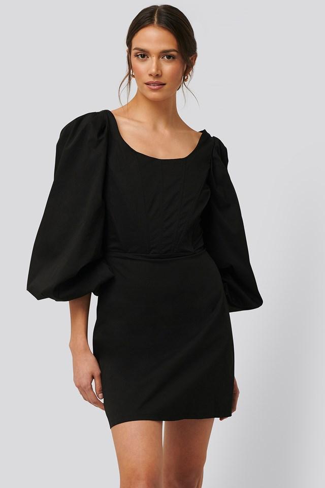 Long Sleeve Corset Detail Mini Dress Black