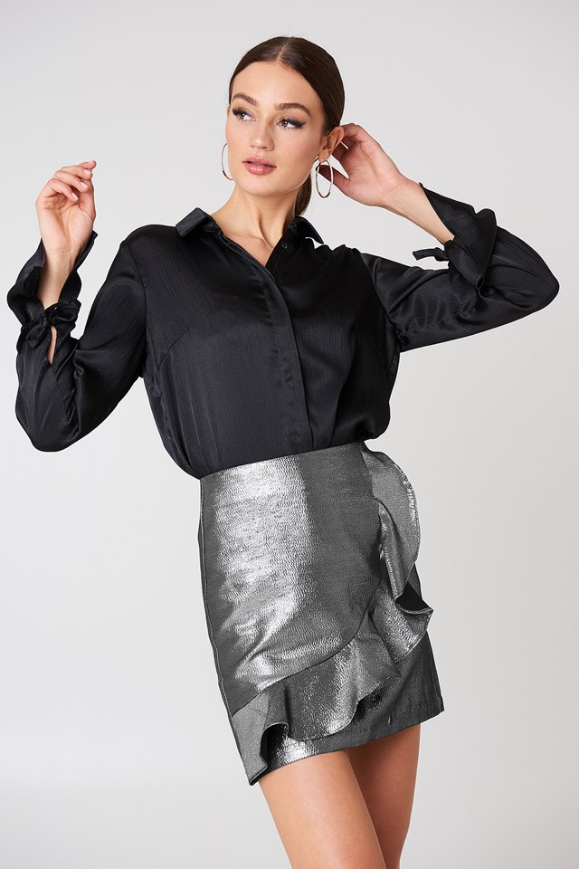 Metallic Frill Skirt Silver
