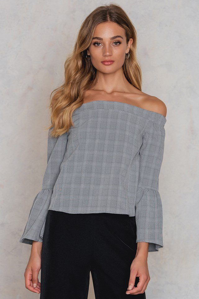 Off Shoulder Smock Top Grey Check