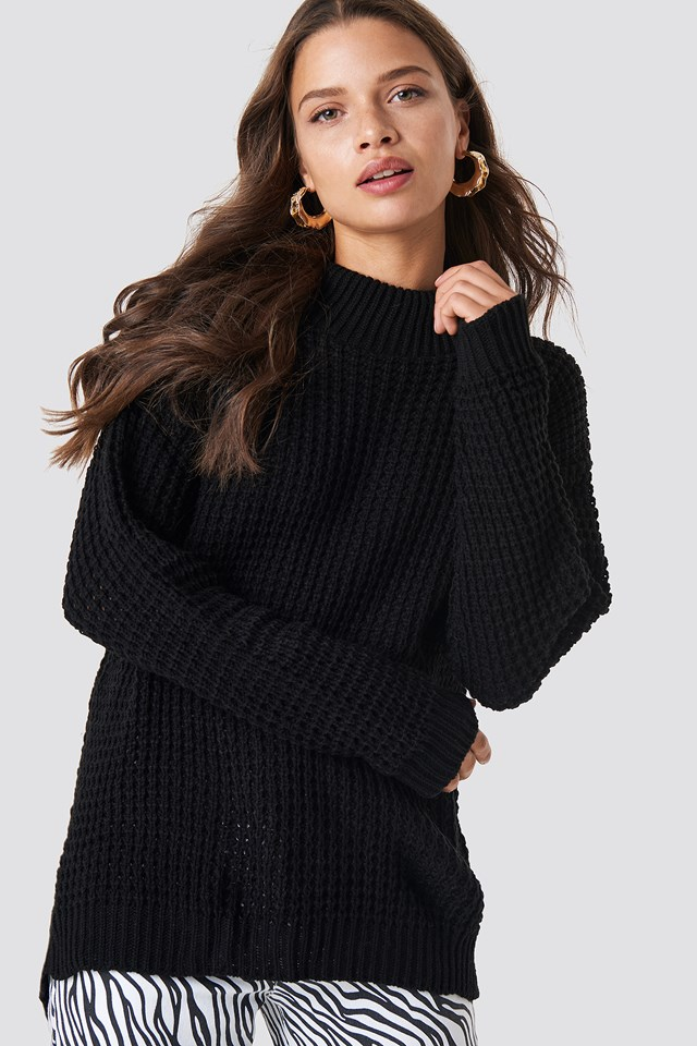 Overlap Back Slit Knitted Jumper Black