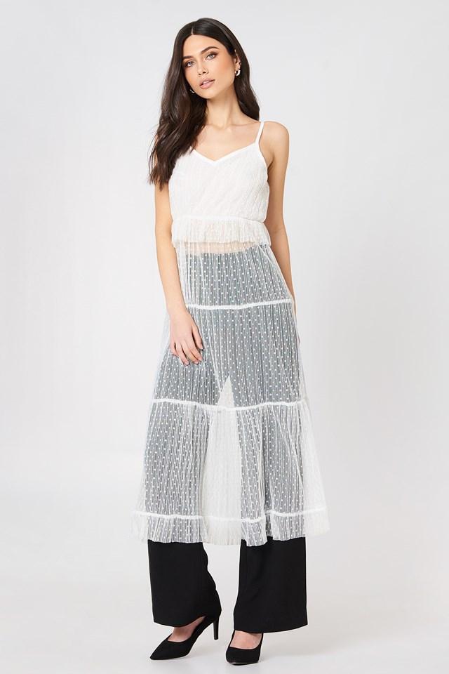 Ruffle Detail Strap Dress White