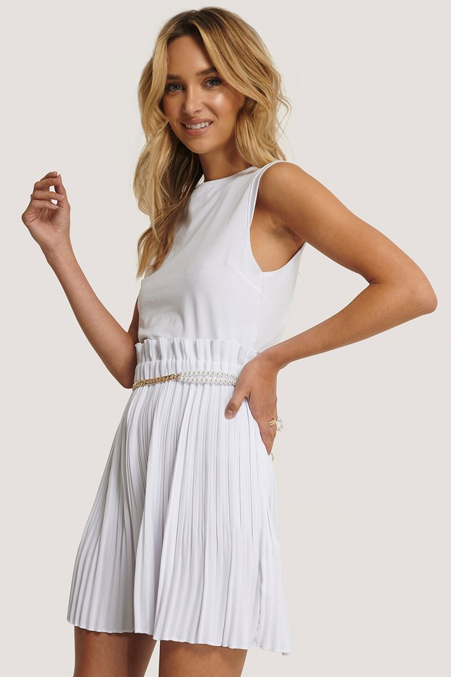 Paper Waist Mini Skirt White