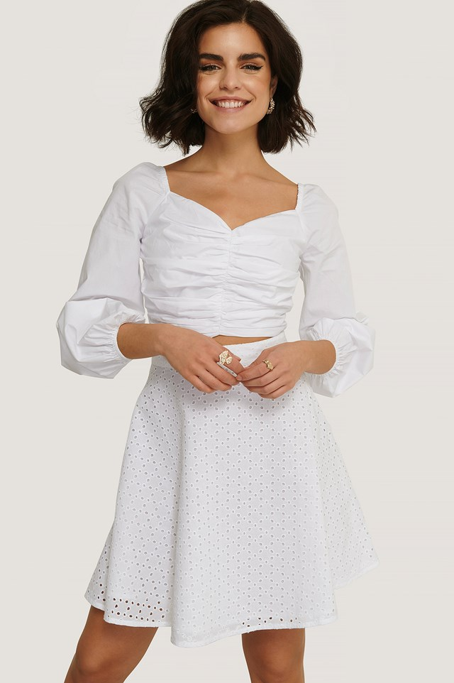White Anglaise A-shape Skirt