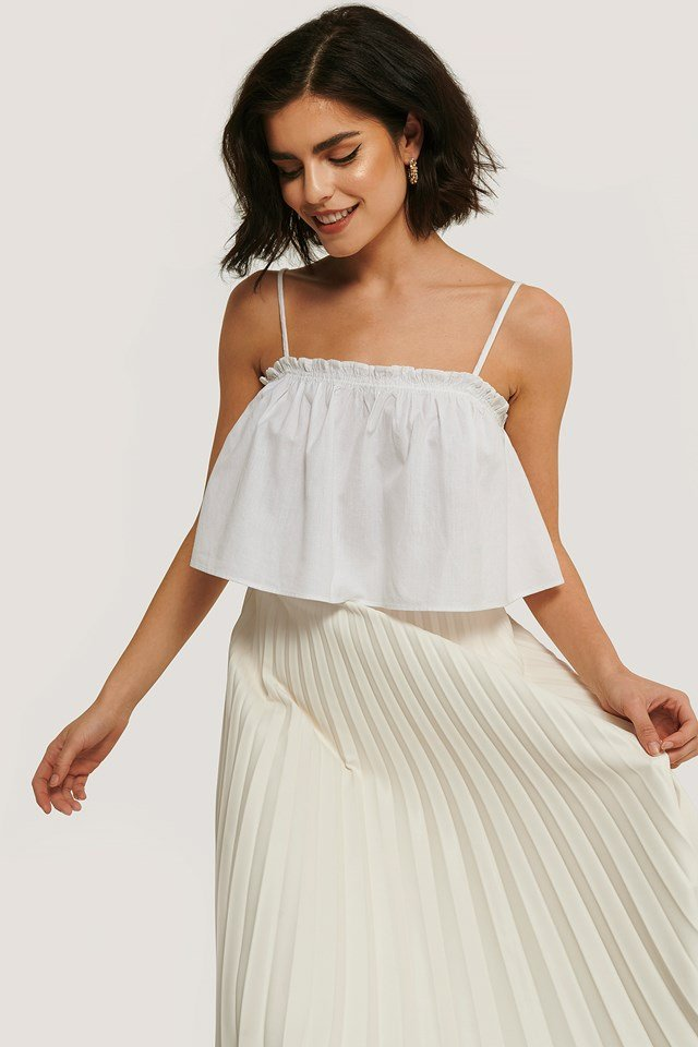 White Cropped Frill Detail Top