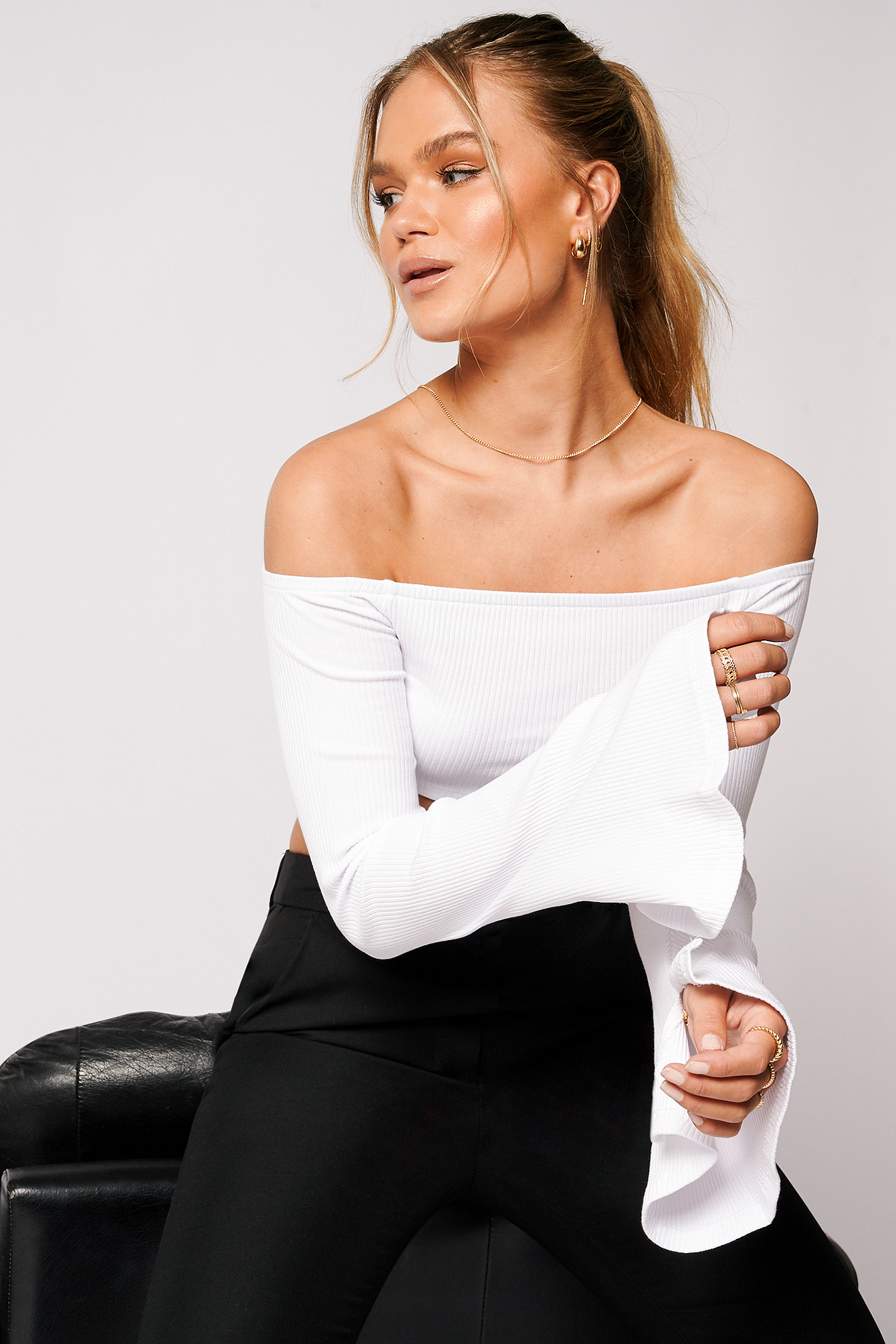 White Off Shoulder Cropped Ribbed Top