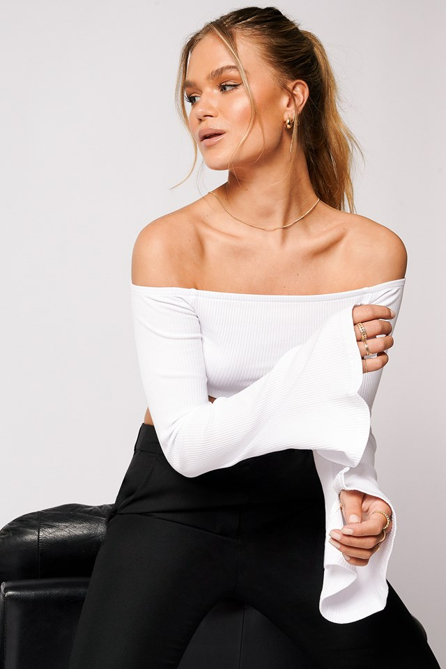 Off Shoulder Cropped Ribbed Top White