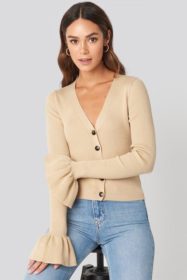 Button Down Bell Sleeve Sweater Beige