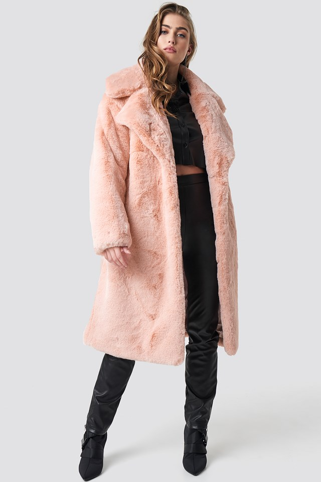 Belted Faux Fur Midi Coat Light Pink