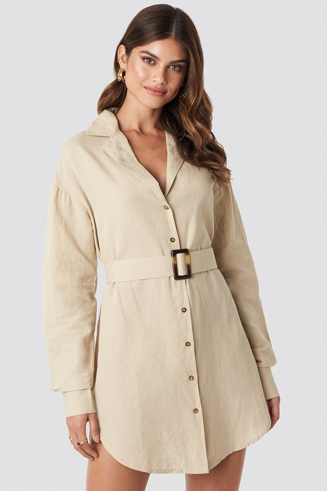 Belted Oversized Linen Look Shirt Dress Beige