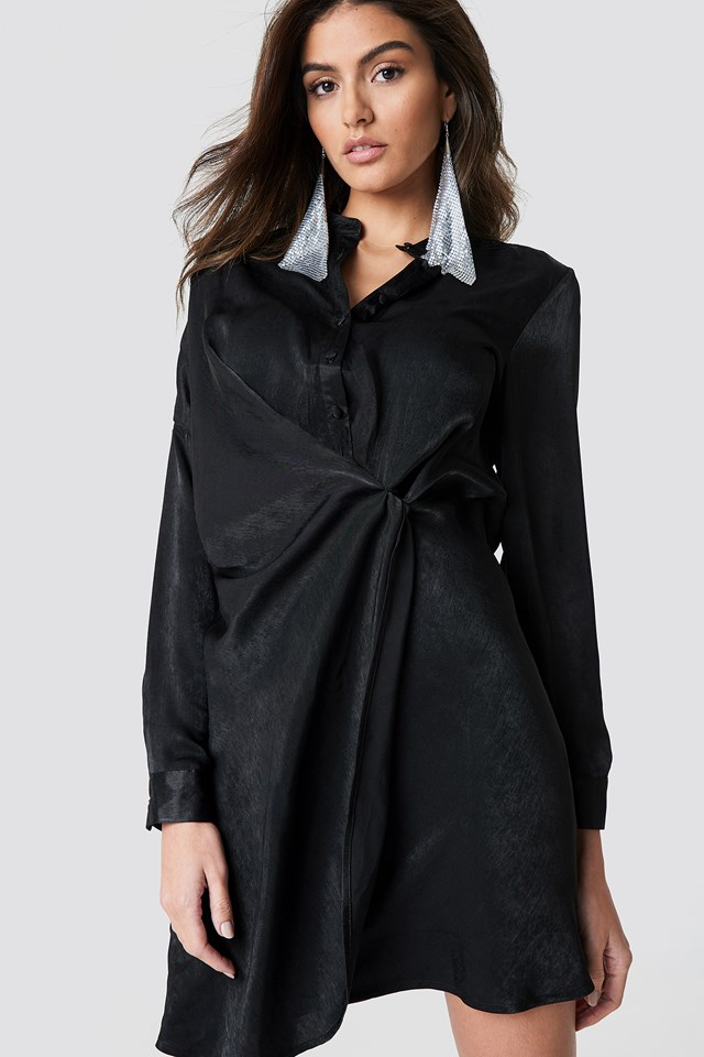 Draped Shirt Dress Black