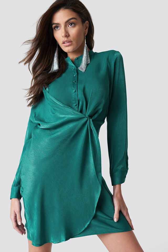 Petrol Draped Shirt Dress