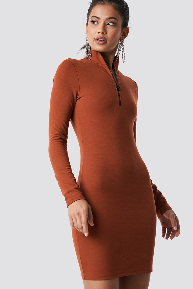 High Neck Zip Dress Rust
