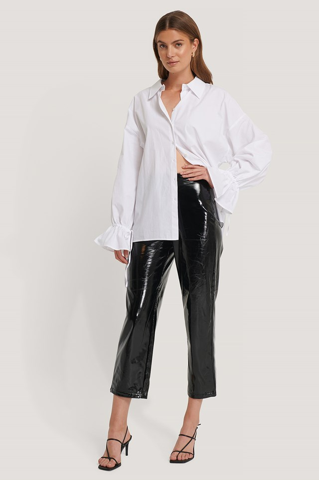 High Waisted Patent Pants Black