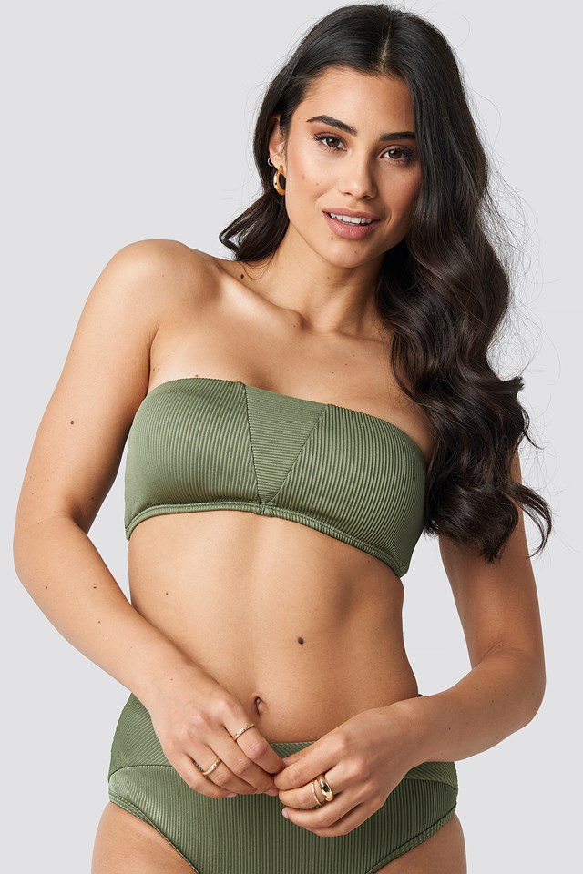 Ribbed Bandeau Bikini Top Army Green