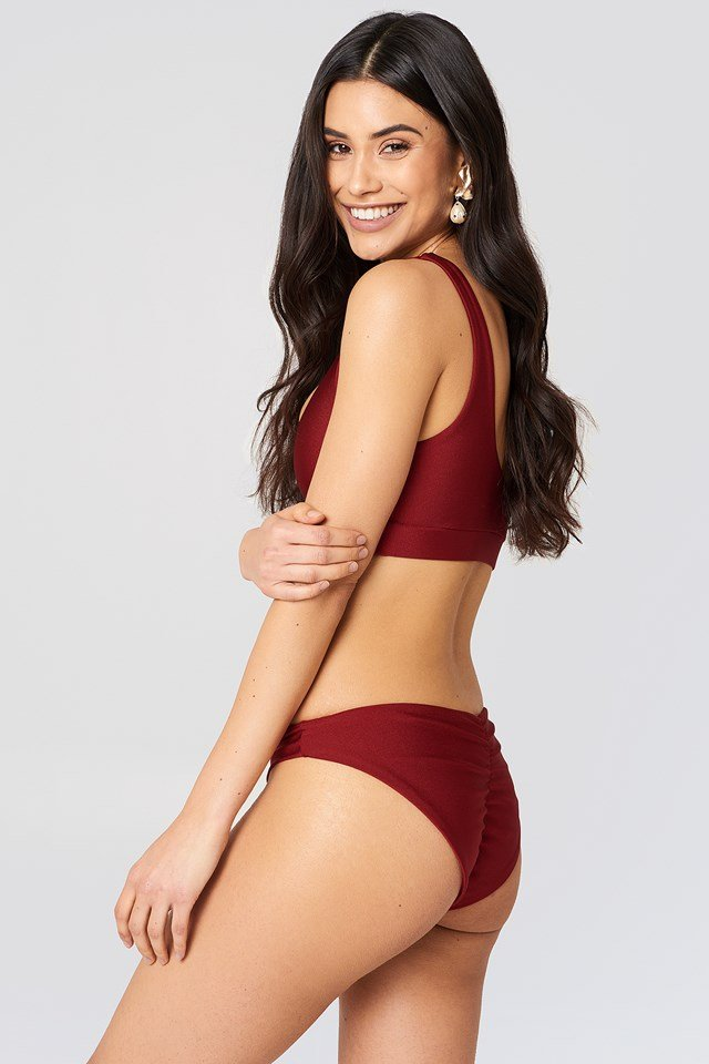Ruched Back Bikini Pantie Dark Red
