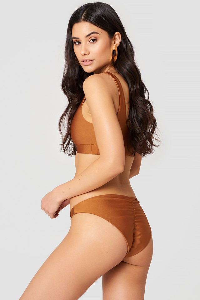 Ruched Back Bikini Pantie Bronze