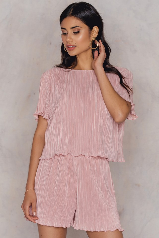 Pleated Top & Shorts Set Light Mauve