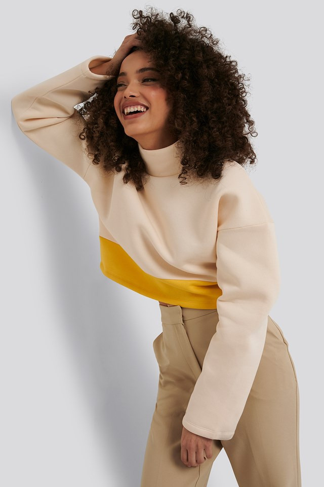 White/Yellow Block Color Sweater