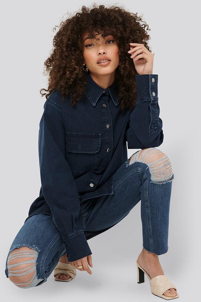 Front Pocket Denim Shirt Dark Blue