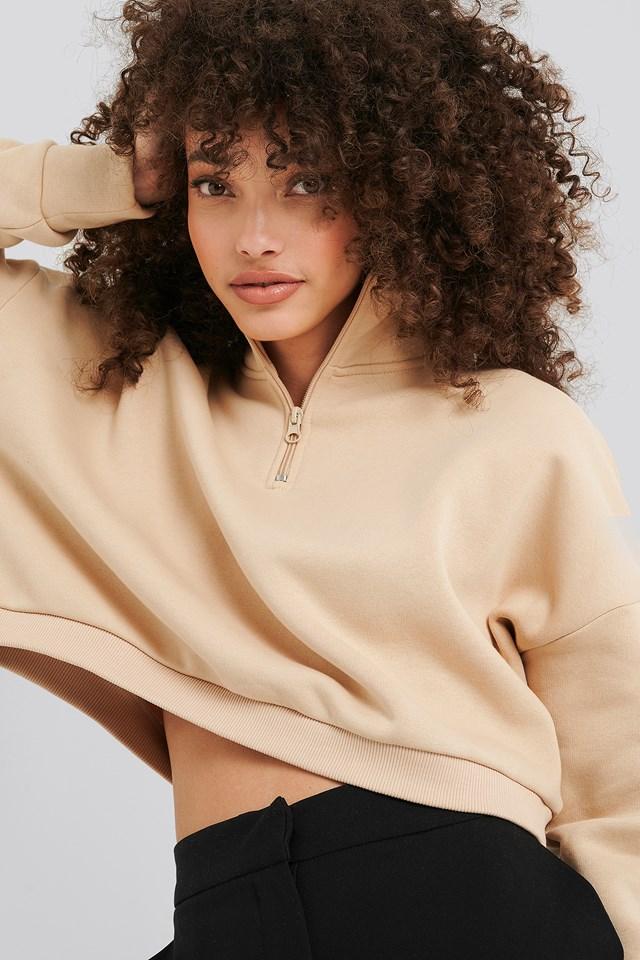 Zipper Jersey Sweater Beige