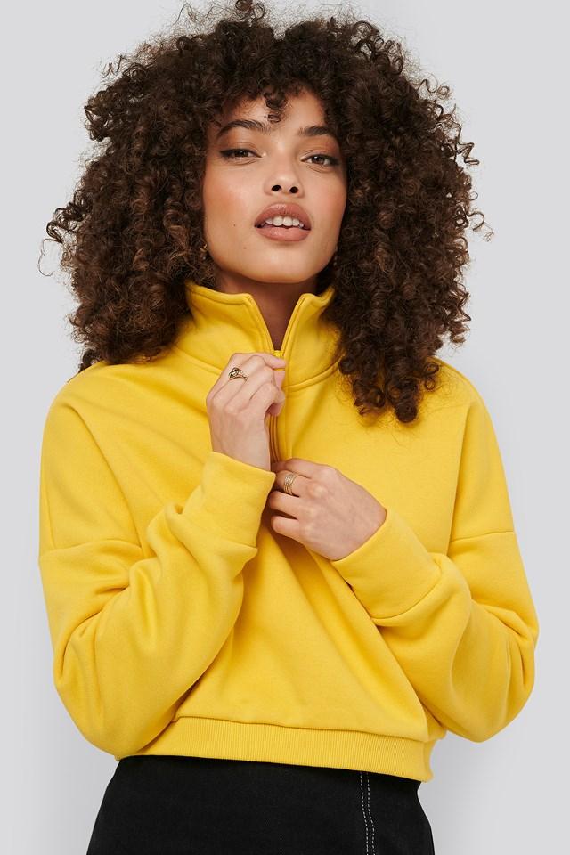 Zipper Jersey Sweater Yellow