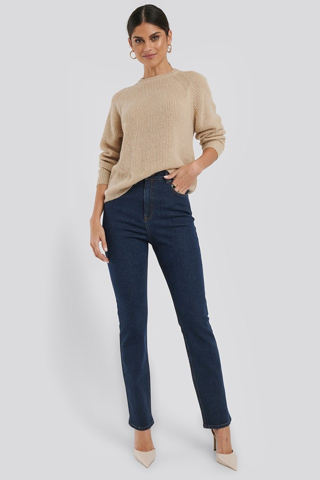 High Waist Back Slit Straight Jeans Indigo
