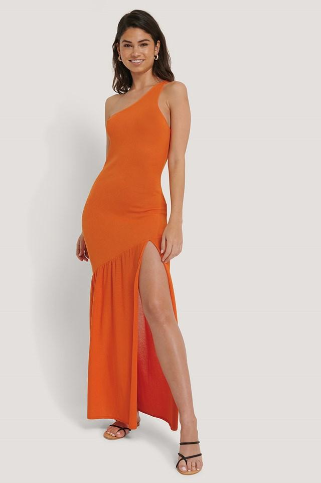 Dziergana Spódnica Z Wcięciem Z Boku Burnt Orange