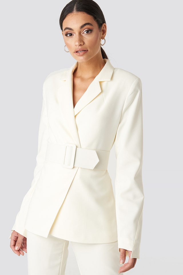 Wide Belted Suit Jacket Cream