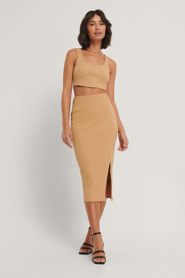 Ribbed Jersey Slit Skirt Sand