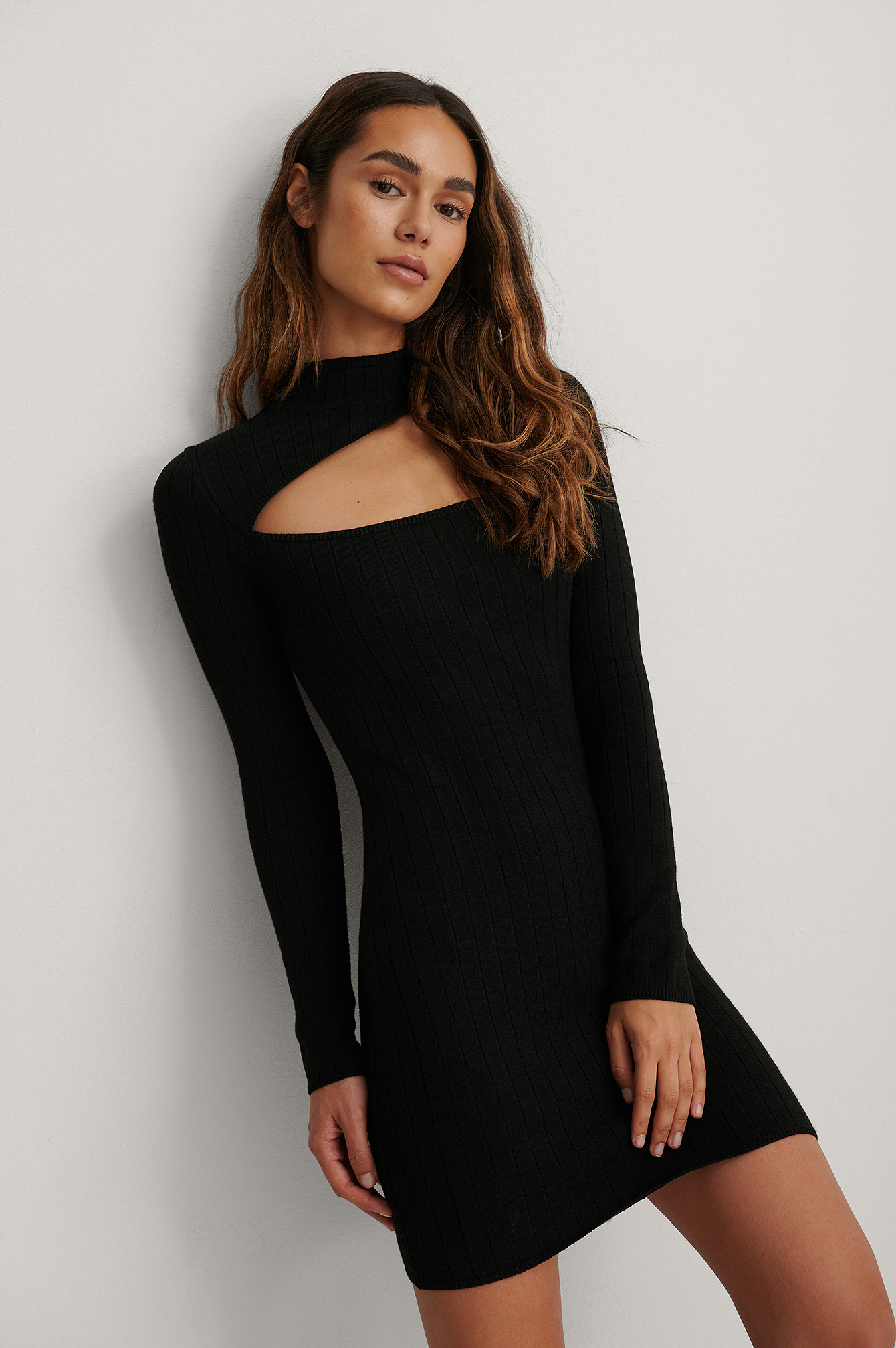 Black Recycled High Neck Cut Detail Dress