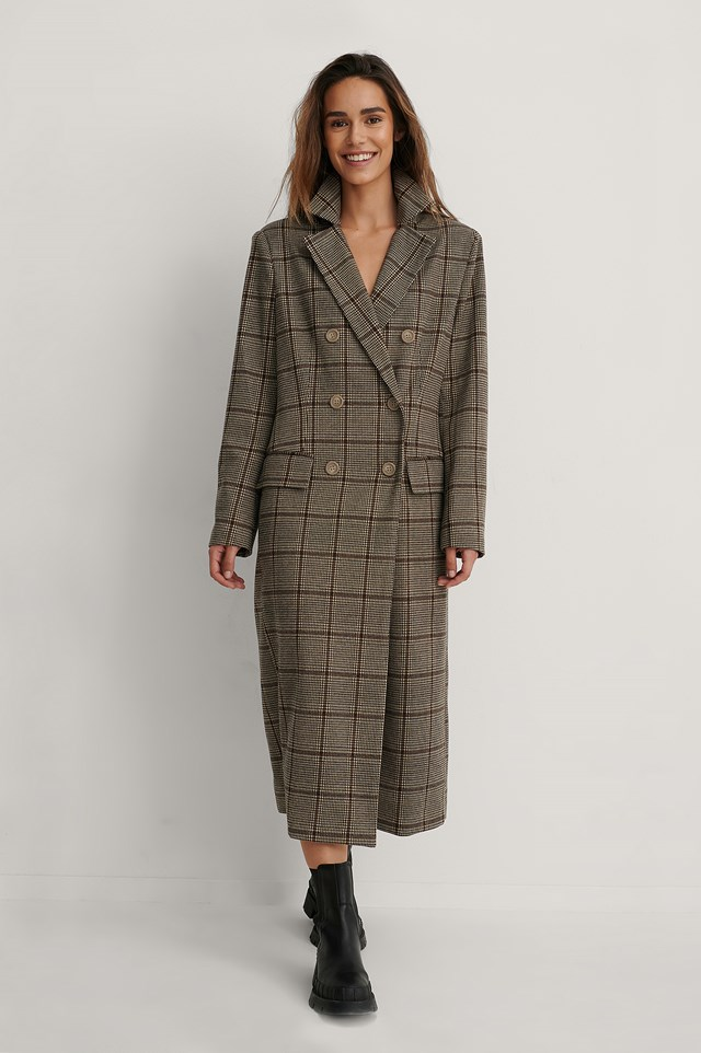 Checked Marked Shoulders Double Buttoned Coat