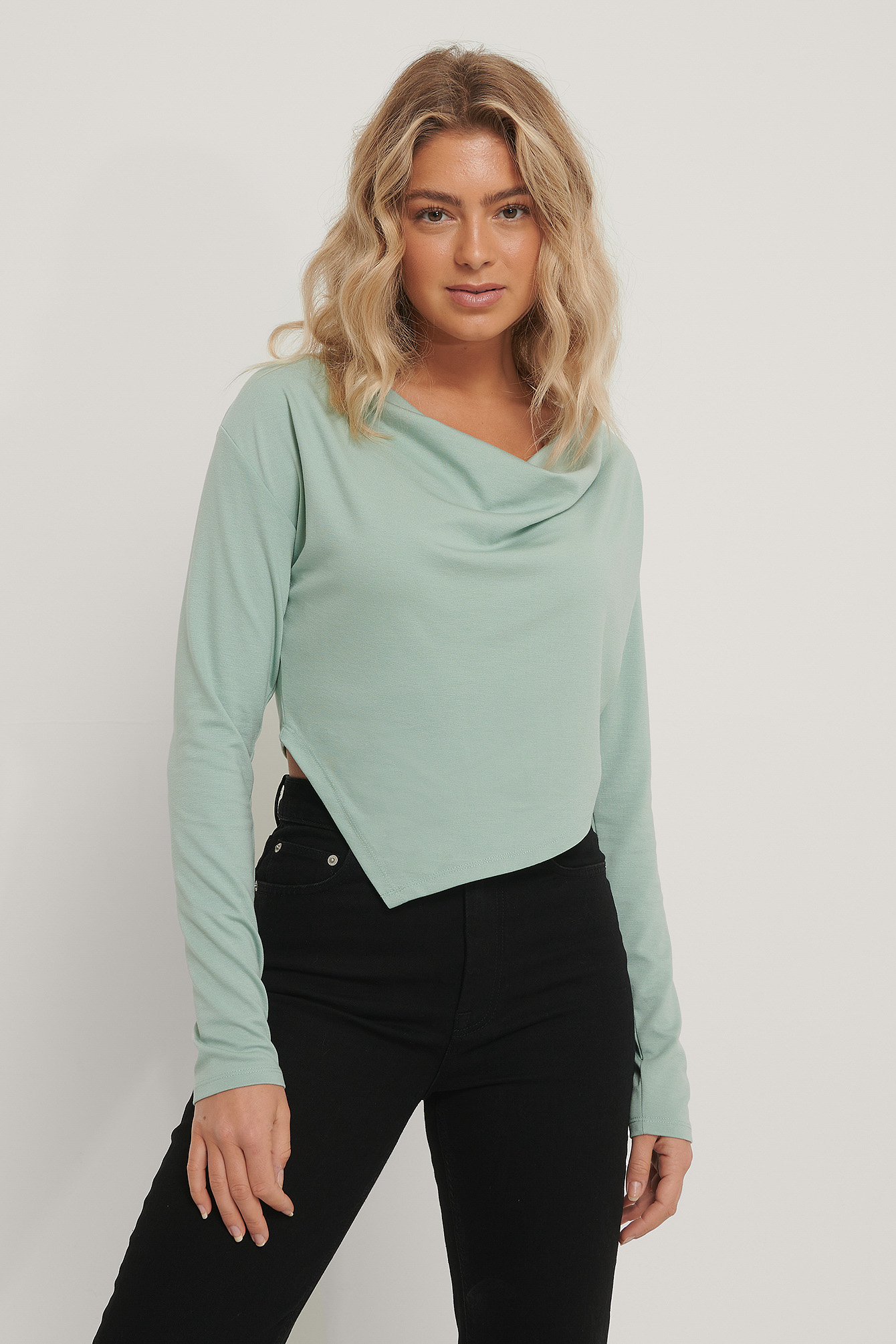 Turquoise Draped Top