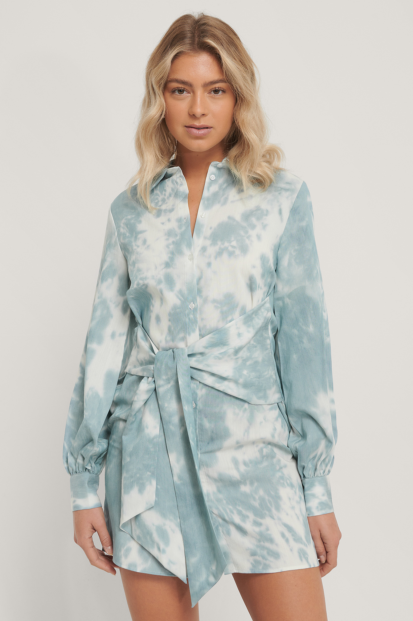 Print Front Knot Shirt Dress