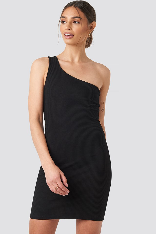 One Shoulder Mini dress Black