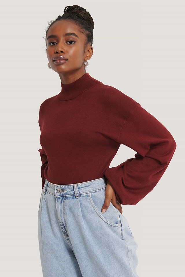 Balloon Sleeve Cropped Sweater Dark Red