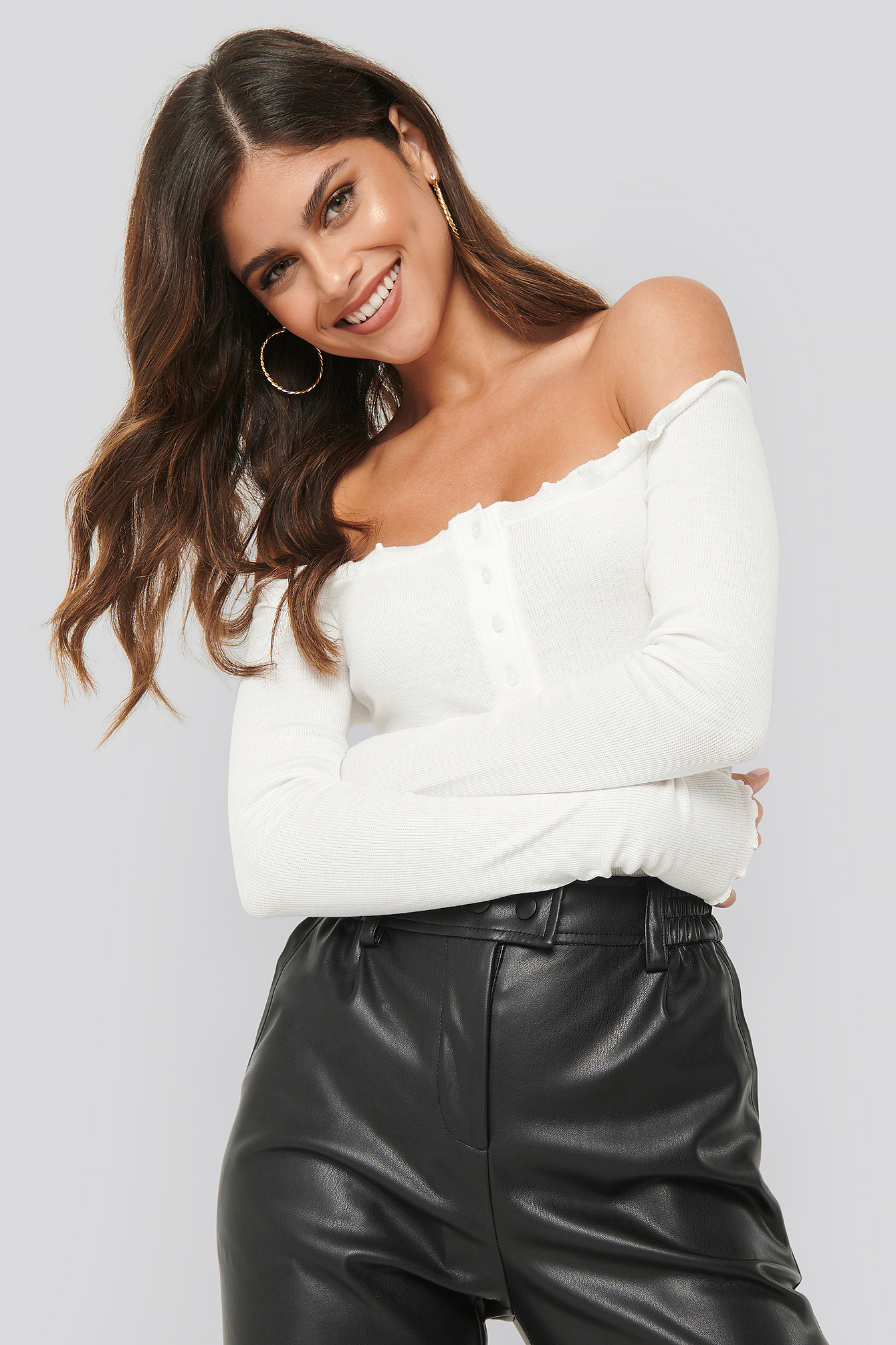 White Off Shoulder Babylock Detail Body
