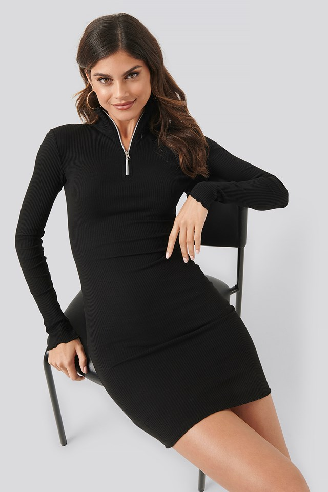 Zip Detail Ribbed Dress Black