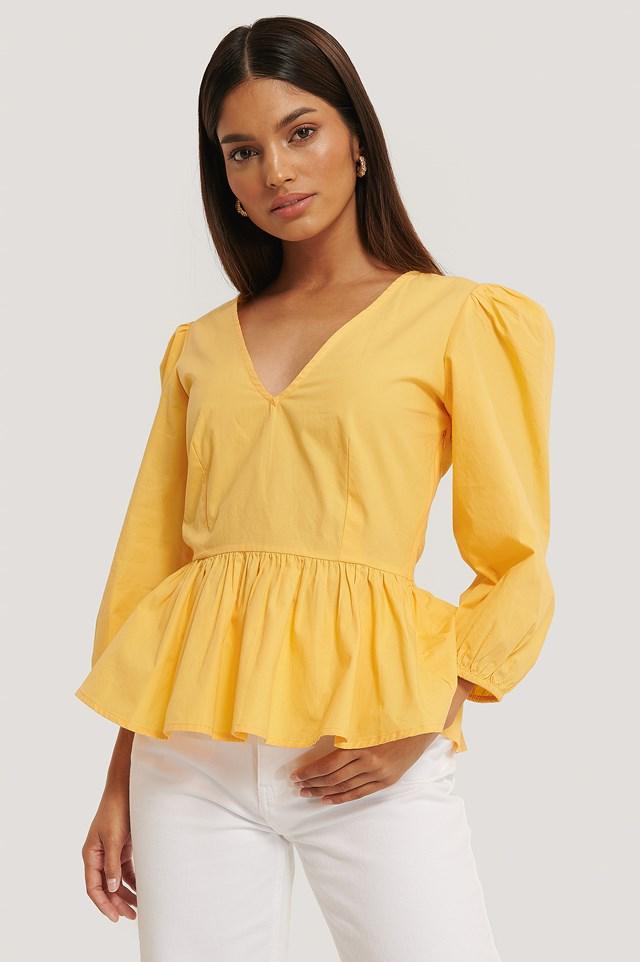 3/4 Balloon Sleeve Blouse Honey