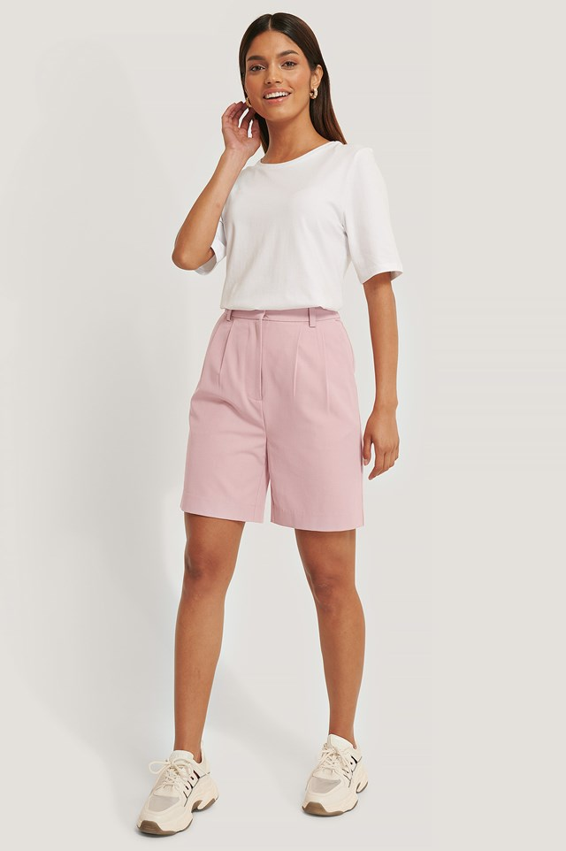 Loose Fit Suit Shorts Blush