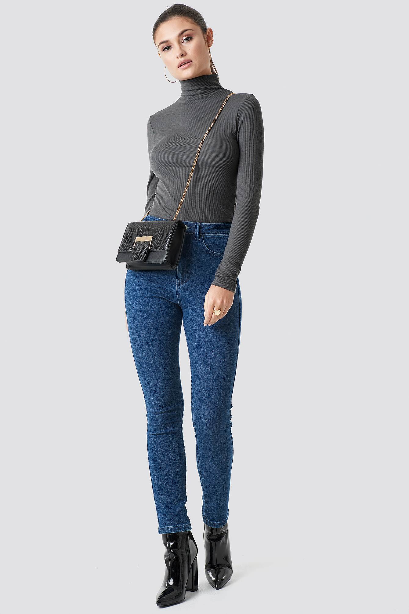 Dark Blue High Waist Slim Leg Denim